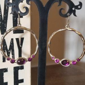 ☆5 for $15☆Vintage Purple Hoop Earrings